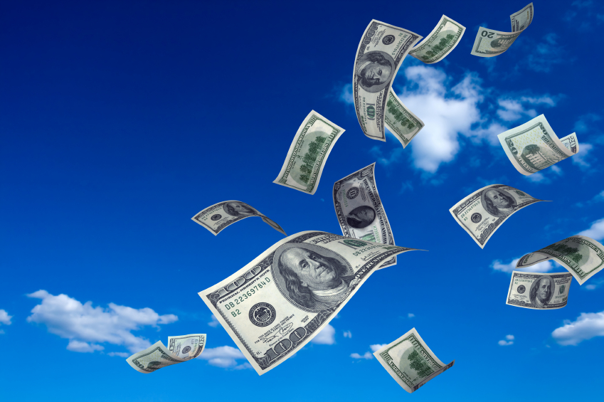 falling cash from sky