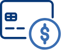 Iconography of credit card with USD Symbol at bottom-right